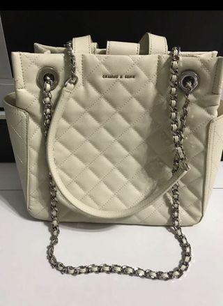 Charles and Keith Cream Quilt Bag