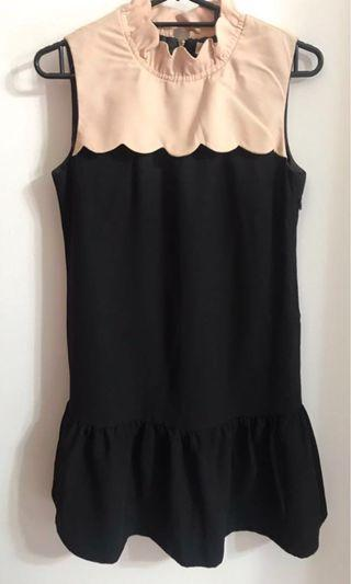 Bysi Elegant Black & Nude Classic Dress