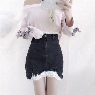 💕 lace denim skirt