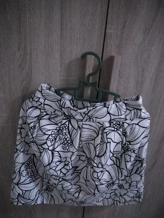 Flower Printed White Skirt