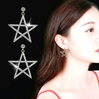 925 Silver Korean Fashion Sparkling Attractive Star Crystal Earrings