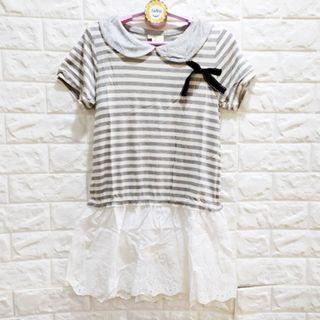 ☆棒棒糖童裝☆(A60202)夏女大童灰白條紋氣質洋裝 17-25