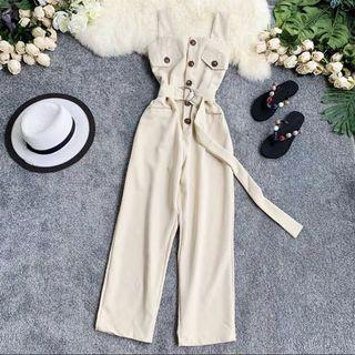 Military Button Buckle Jumpsuit
