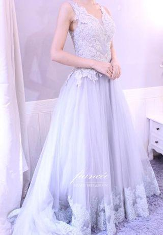 gray evening gown