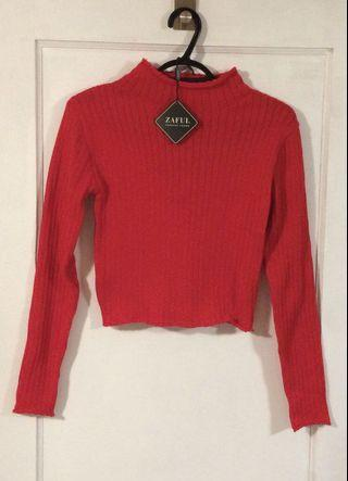 Brand new With Tags Zaful Red Crop Sweater Size S