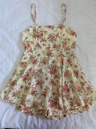 日系玫瑰花連身裙褲