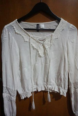 H&M Lacey White Top