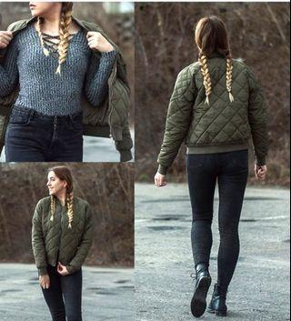 Quilted Knit Bomber Zip Up Sweater