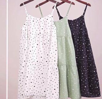TTR EMMY TIERED DRESS (WHITE POLKA DOT) Size L