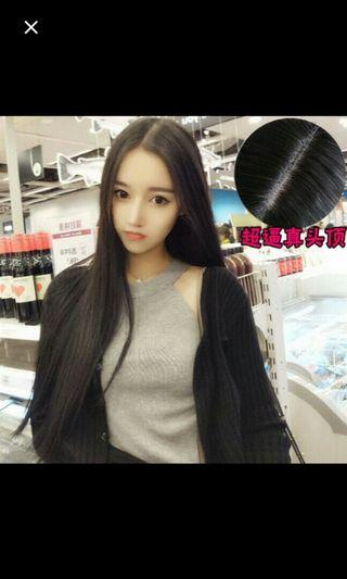 (No instocks!)Peorder korean centre parting natural straight long wig * waiting time 15 days after payment is made *chat to buy to order