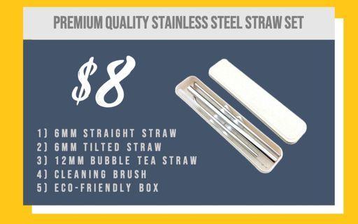 Premium quality steel metal straws