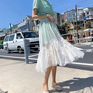 2019春夏超仙甜美T恤網紗裙