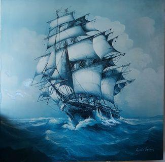 "Vintage ANDRES Orpinas ""Ship At Sea"" Painting Printed on Hardboard"