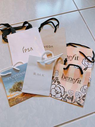紙袋 ipsa aveda benefit rmk l'occitane 6個一組 10元