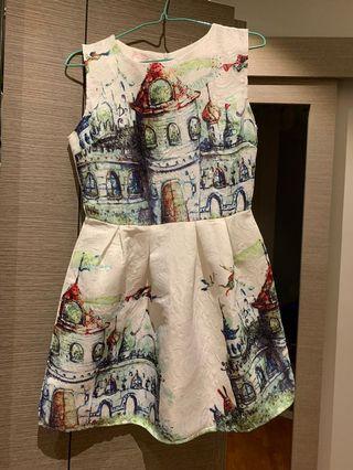 Floral Dress, flare, A-line, castles size 6