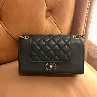 Chanel gold chain green bag