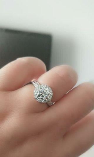 1卡莫桑石戒指純銀
