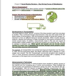 SS O / N level Notes Sec 3 or 4 Social Studies (combined humanities) for GCE O / NA / N Level