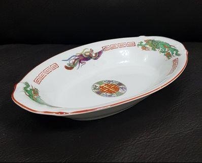 Dragon and Phoenix Oval Bowl