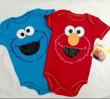 🈹限時優惠12/18/24m 芝麻街sesame street Elmo/Cookie monster 出口歐洲 男女嬰兒BB兒童 純棉短袖連身夾衣 全新 baby bodysuit jumpsuit