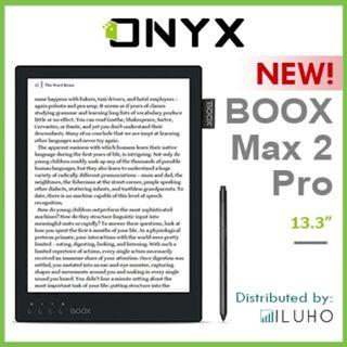 """[BNIB] 1 Ready Stock! ONYX BOOX MAX 2 PRO Black Colour - 13.3"""" Android 6.0 Eink Reader with Wacom Stylus + FREE Flip Cover"""