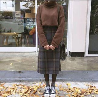 毛衣 格子裙