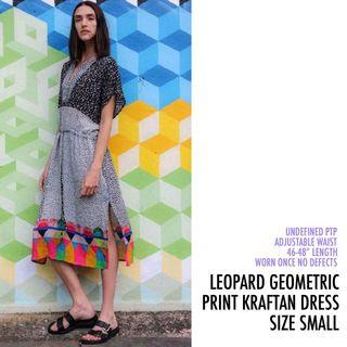 Leopard Geometric Print Kraftan Tie Front Midi Dress Small S
