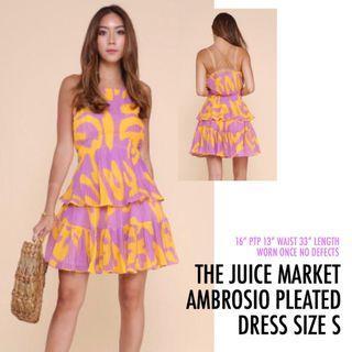 The Juice Market TJM Ambrosio Purple Yellow Pleated Dress Small S