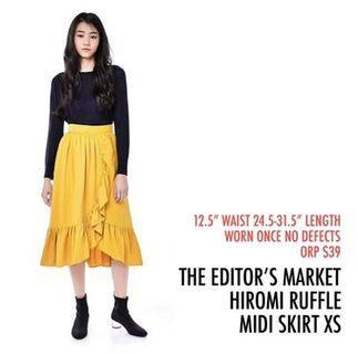 The Editor's Market TEM Hiromi Ruffle Asymmetrical Midi Skirt Yellow XS