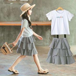 🚚 預購「110-160白色棉字母上衣+格紋蛋糕裙」童裝