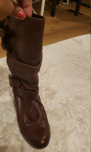 Brown mid level boots