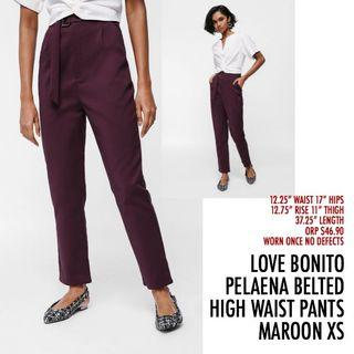 Love Bonito LB Pelaena Belted High Waist Trousers Pants Maroon Red XS