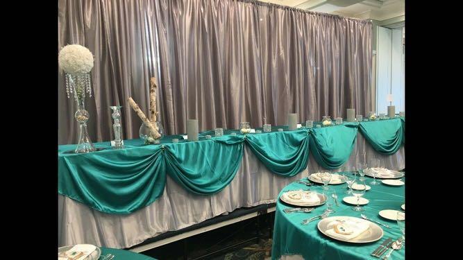 4 silver taffeta backdrop panels (30 ft tall)