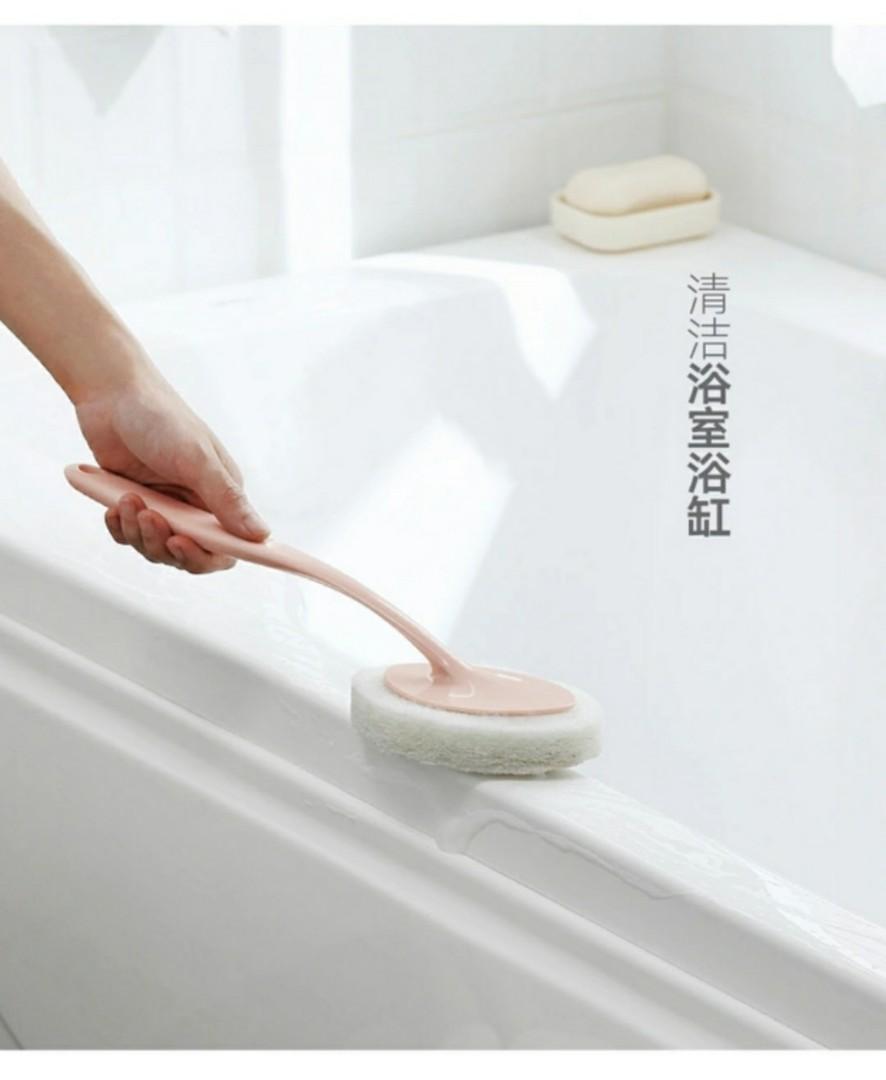 5件套裝: 長柄海綿刷,適合用於衛生間、浴缸、浴室清潔地板、刷厨房,海綿擦