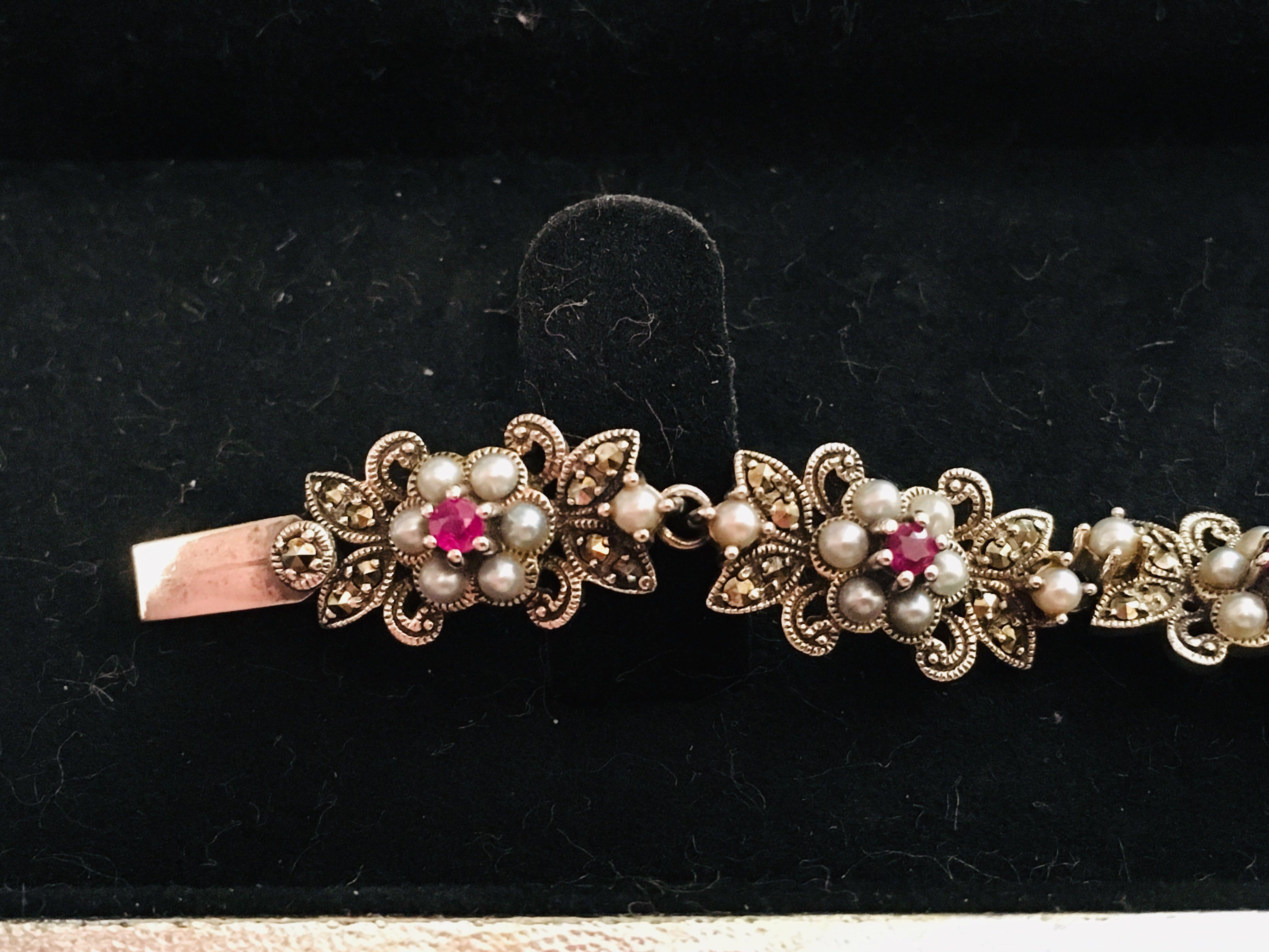 古典純銀礦石紅寶手鏈 Vintage Silver Marcasite Ruby Bracelet