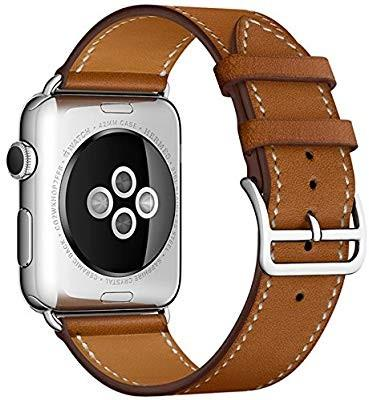 iBazal Compatible Apple Watch Band 42mm,Apple Watch Leather Band Replacement for 42mm Apple Watch Series 3/Series 2/Series 1/Sport/Edition (Brown 42mm)
