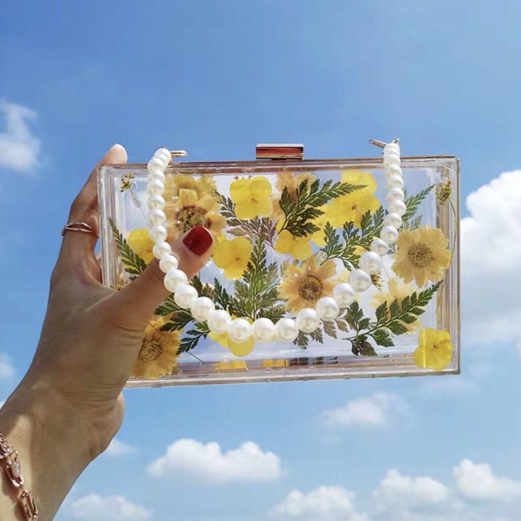 Acrylic Yellow Flower Clutch / Wedding Formal Occasion Evening Statement Bag