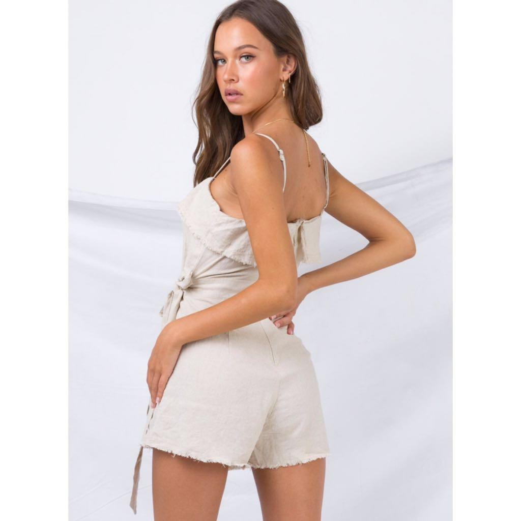 authentic princess polly beige nude linen playsuit