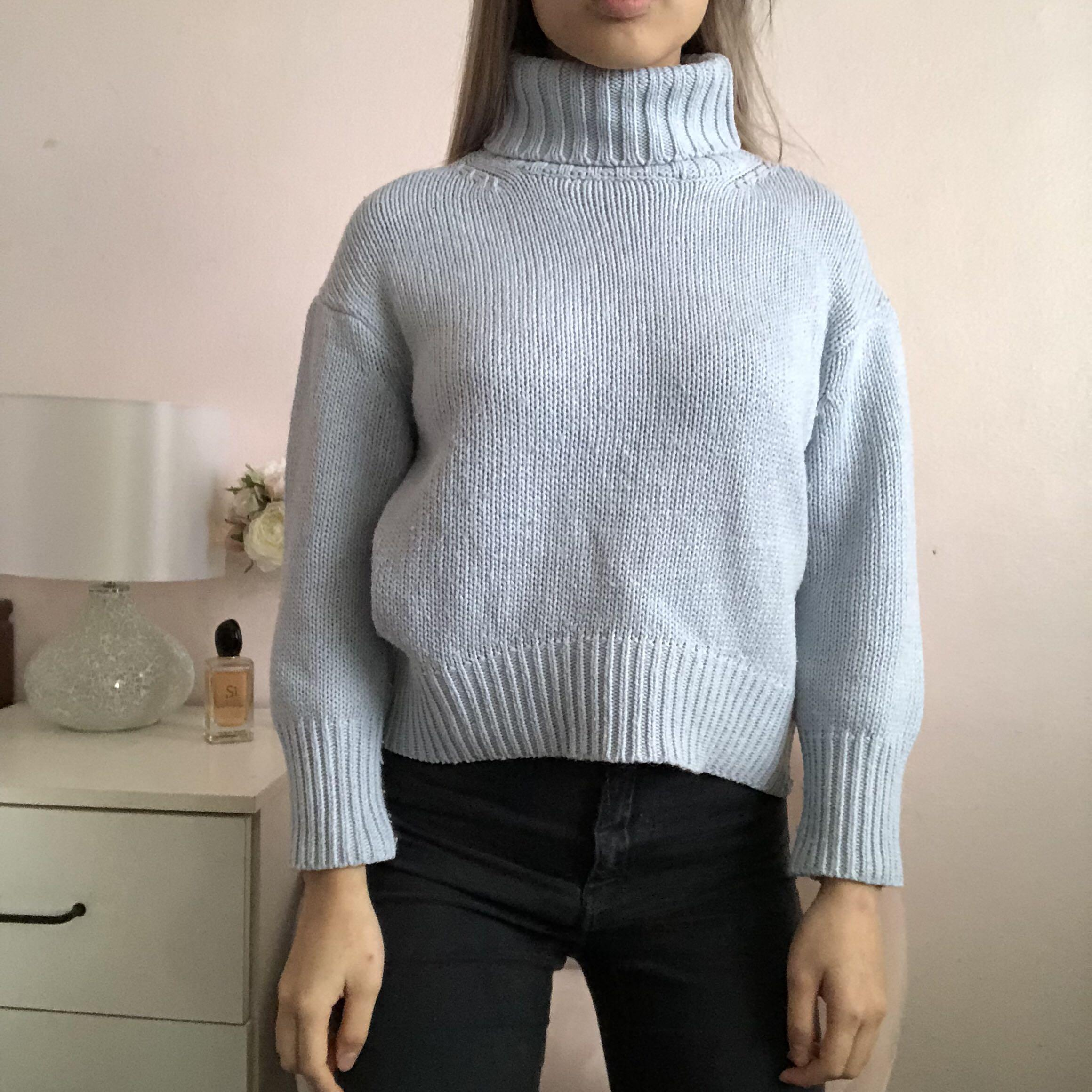 Baby Blue Turtleneck Knit Jumper Sweater