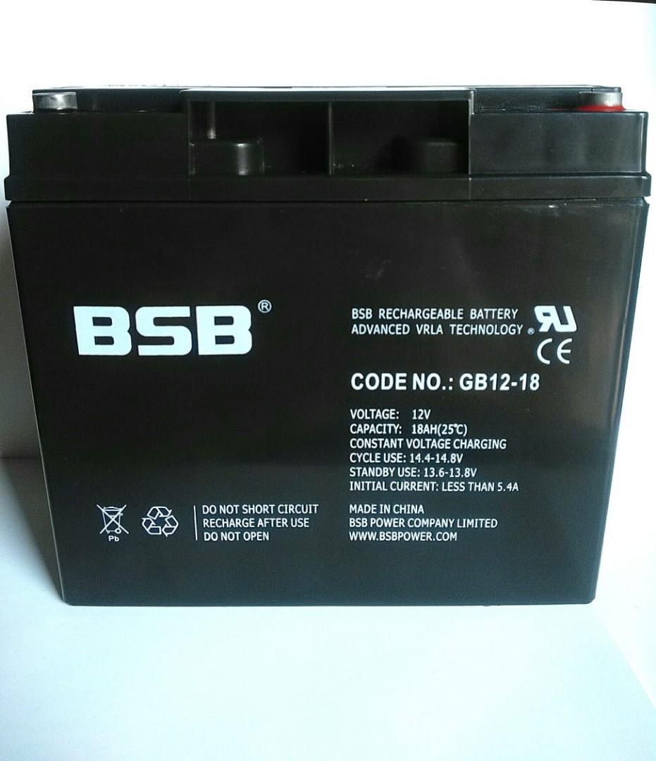 Baterai VRLA UPS Aki Kering BSB GB12-18A 12V 18Ah