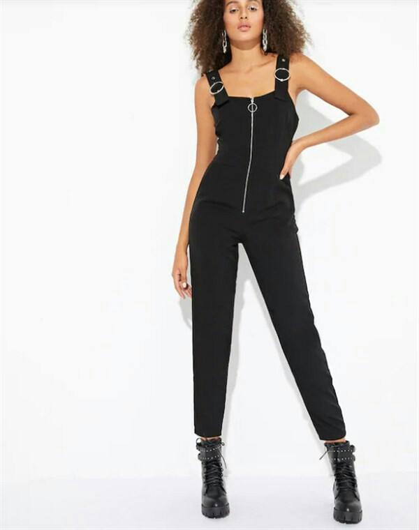 Black zip buckle overalls