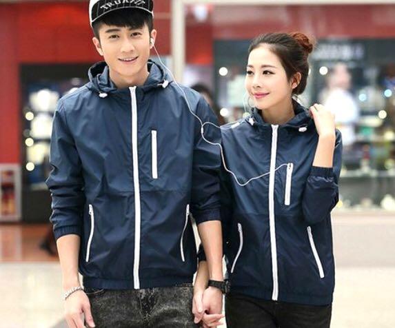 Blue Unisex Windbreaker Jacket