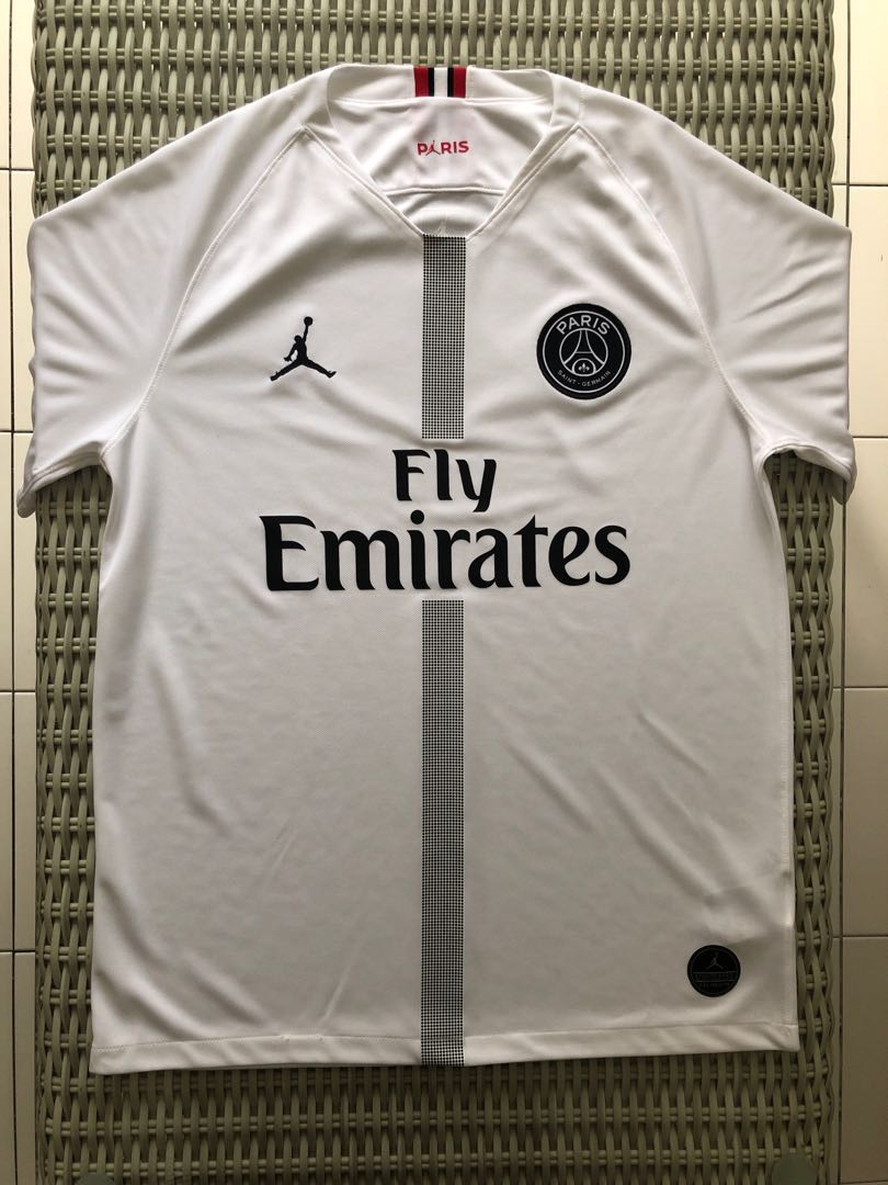 96d4ef63508 BN Nike💯% Authentic Air Jordan white Paris Saint Germain (PSG) away jersey  for SGD$99 (size M), Sports, Sports Apparel on Carousell