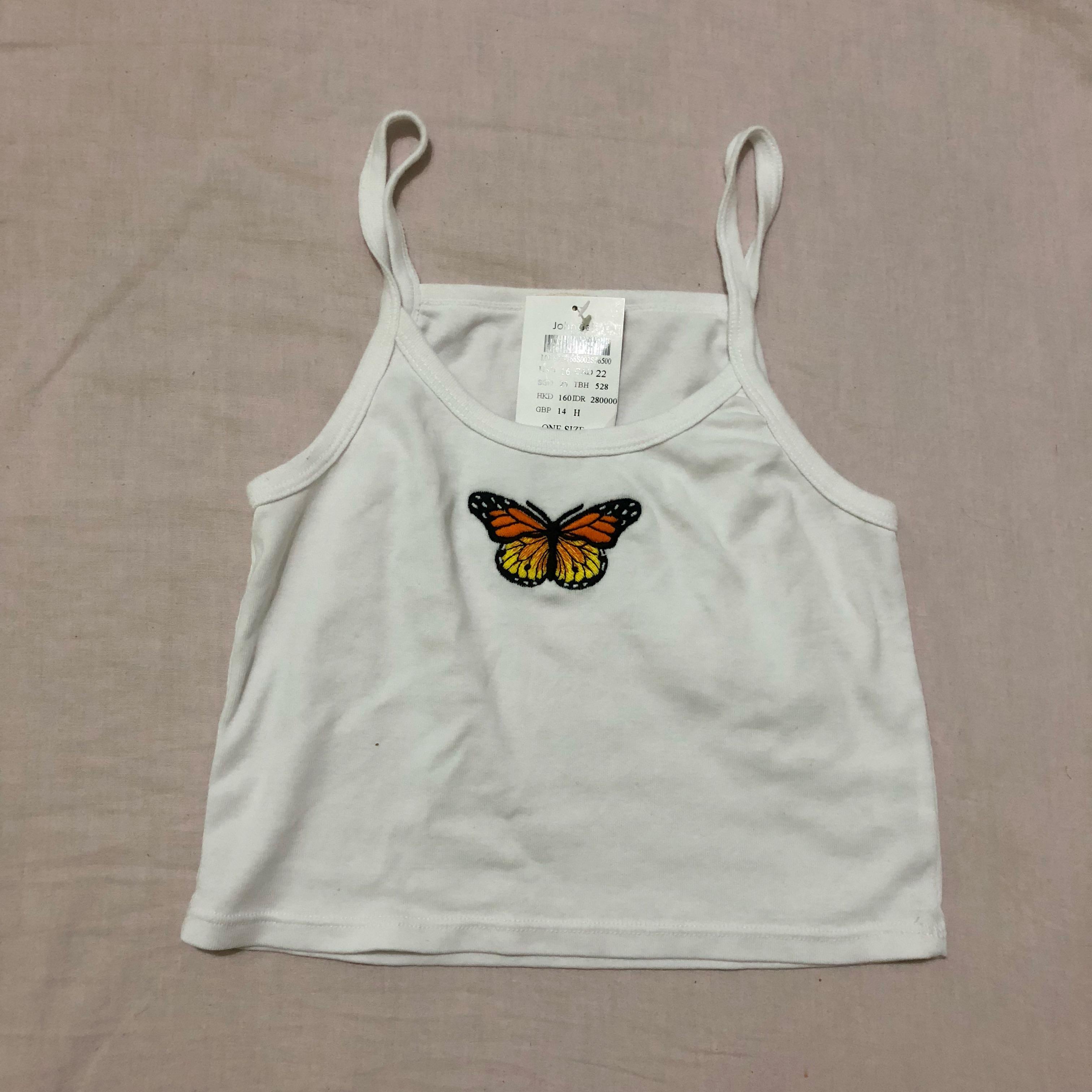 bnwt brandy melville butterfly patch skylar tank