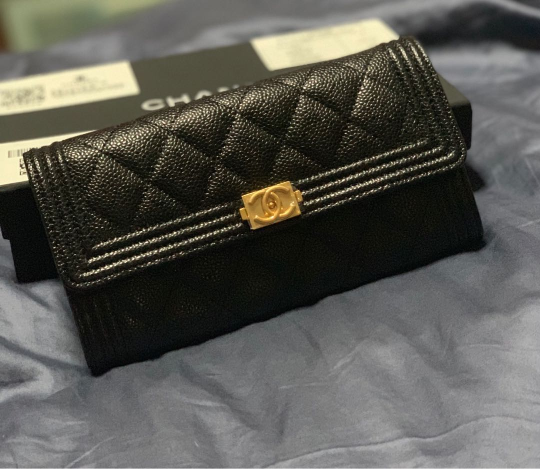 8e4f433c43 BOY CHANEL Long Flap Authentic wallet - Black with seasoned unique ...