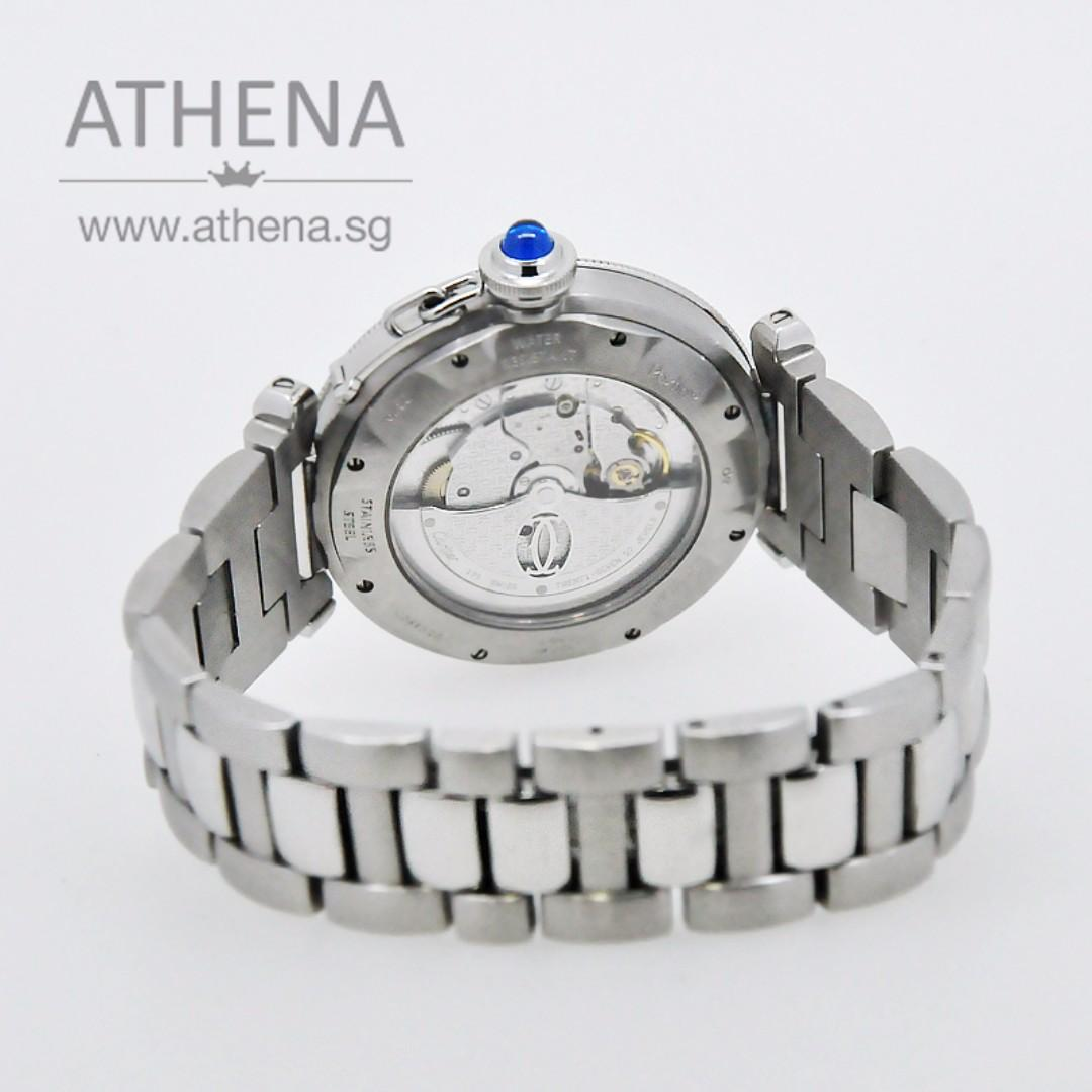 """CARTIER PASHA XL """" SILVER DIAL"""" WITH GRID AUTOMATIC (40MM) W31040H3  JGWCT_014"""