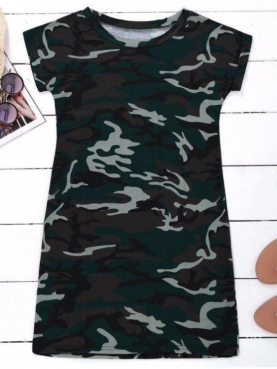 🚀CLEARANCE PRICE zaful camo tshirt dress