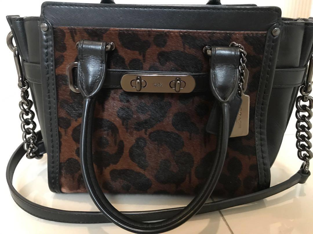 coach swagger leopard haircalf leather