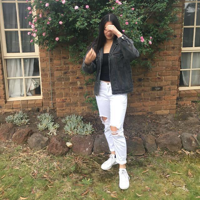 Dotti White Boyfriend Ripped Jeans