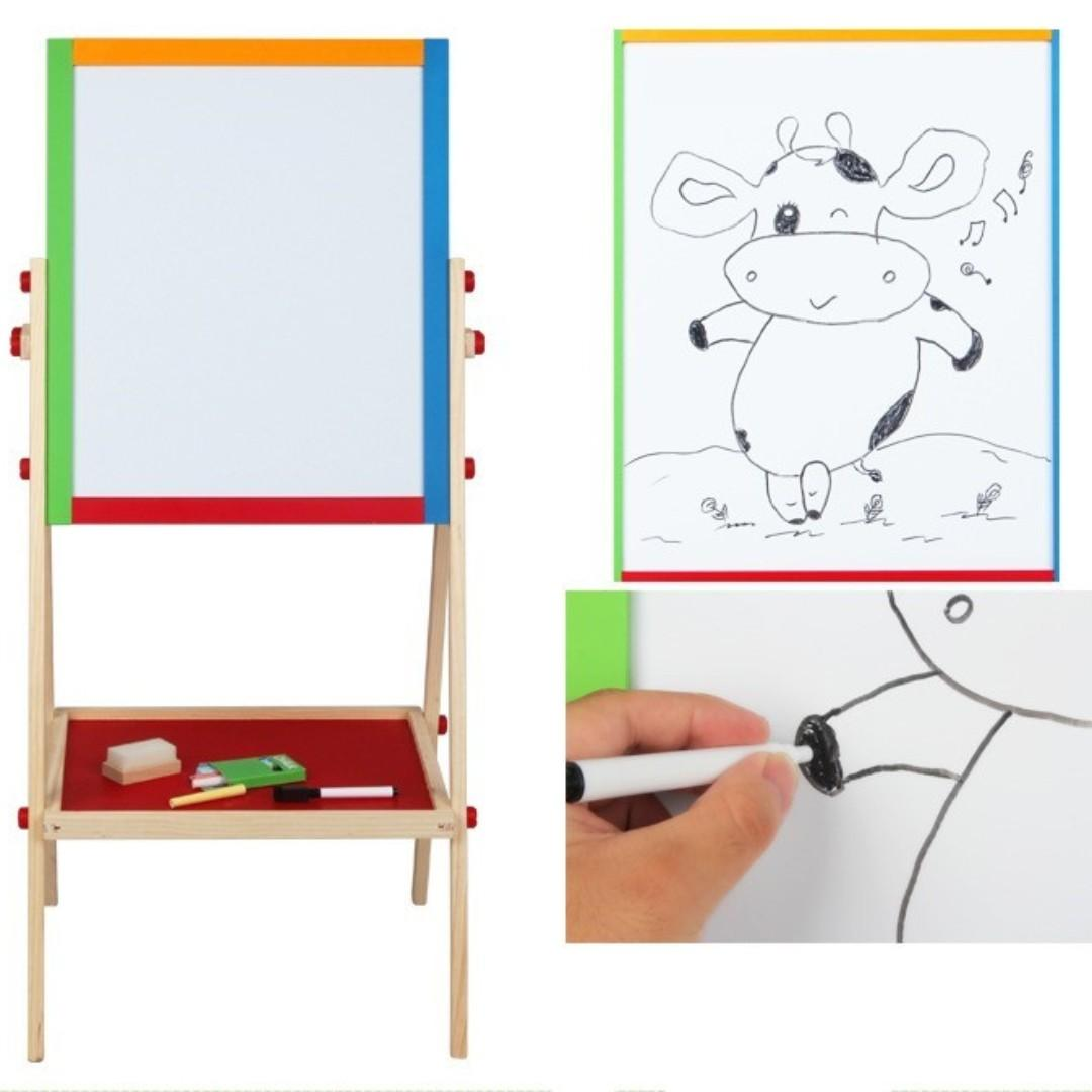 Double Sided Black and White Wooden Easel Chalk & Drawing Board